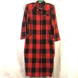 Vintage Kono Plaid Linen Dress